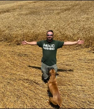 Nick Beaudrie, shown in a wheat field here, is the recipient of the Outstanding Agriculture Student Award for 2020 at Monroe County Community College.