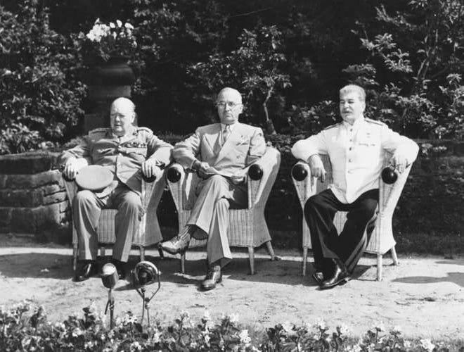 Winston Churchill, left, Harry Truman and Joseph Stalin in Potsdam, Germany.