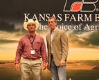 Nick Panek, Pratt County, receives the Young Farmer and Rancher of the Year award at the 2021 Kansas Farm Bureau leaders conference in Manhattan last month.