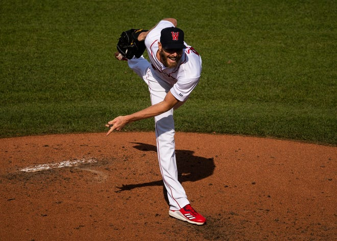 Chris Sale delivers a pitch during a rehab start with the WooSox against Buffalo last Saturday in Worcester.
