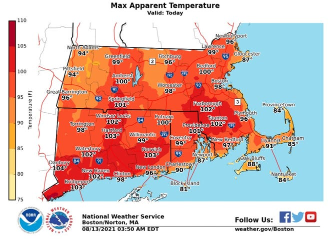 The temperature in Providence should reach 93 degrees Friday, but it will feel even hotter because of oppressive humidity, the National Weather Service says.