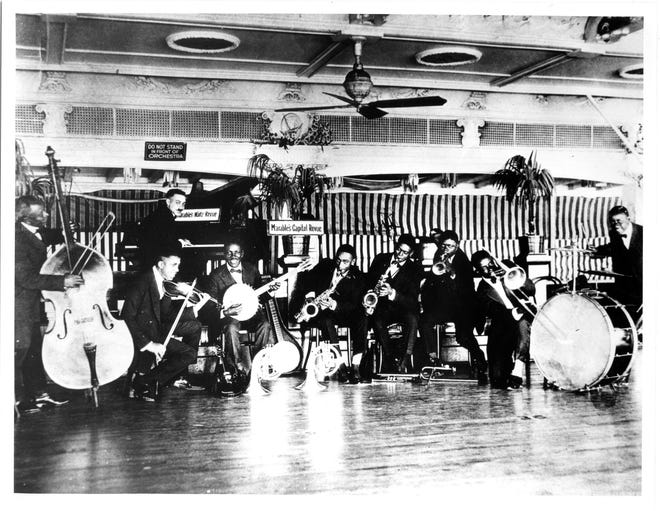 """Fate Marble's Capitol Revue, on board the Steamer Capitol, ca. 1917. From the Collections of the St. Louis Mercantile Library at the University of Missouri St Louis. """"St. Louis Sound,"""" is on display at the Missouri History Museum from Aug. 28 through Jan. 22, 2023. Admission is free."""