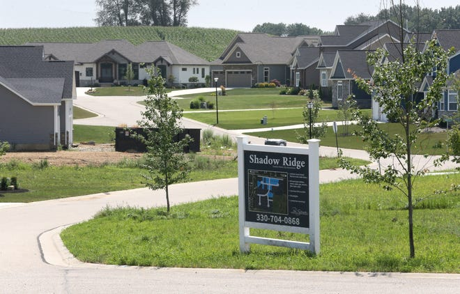 Recently built houses in the Shadow Ridge allotment are part of a section in Jackson Township that had the largest percentage population growth in Stark County over the past decade.