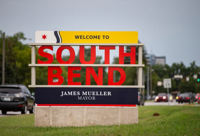 A Welcome to South Bend sign sits near the southbound lanes of IN-933 on Thursday, Aug. 12, 2021, in South Bend.