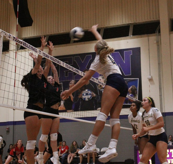 Stephenville's Kennedy Coffee (No. 4) slams the ball across the net toward Burleson defenders during a set of the Honeybees' season opening win on Tuesday at Tarleton Wisdom Volleyball Gym. Looking on at right are teammates Kierstyn Carlton (No. 12) and Jaylee Mathews (No. 10).