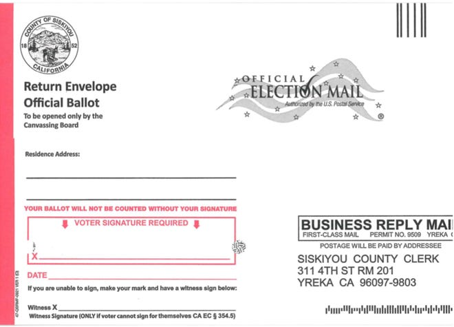 Siskiyou County voters should look for this envelope in their mailboxes starting next week to cast their ballot in the Sept. 14 Gov. Gavin Newsom recall election.
