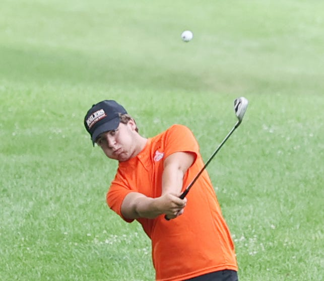 KHS's Emmitt Brokaw hits his second shot onto the green during the varsity match with LaSalle-Peru on Thursday, Aug. 12, at Baker Park. He was the Kewanee medalist with a 45.
