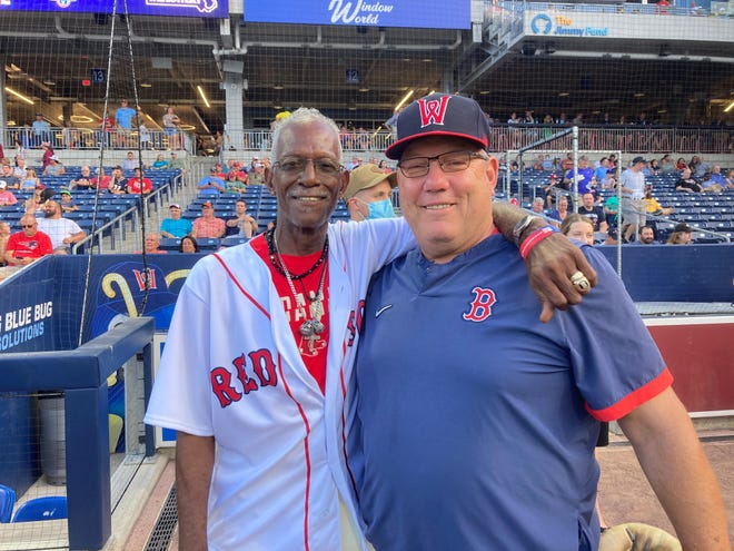 """Former Red Sox teammates Dennis """"Oil Can"""" Boyd, left, and Rich Gedman reunite prior to Thursday's scheduled Worcester Red Sox game."""