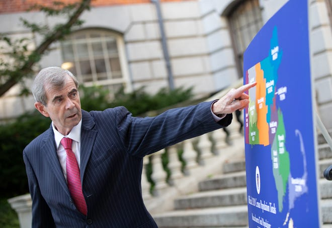 Secretary of State William Galvin gestures to a county-level map showing the 2020 Census results while offering his first take Thursday afternoon on the local-level population and demographic data released by the U.S. Census Bureau.