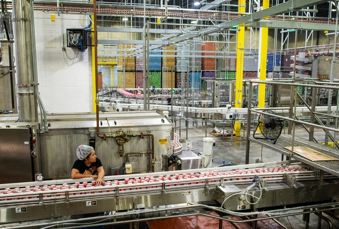 Polar Beverages operates bottle and can production lines in the company's 350,000-square-foot facility at 40 Walcott St., Worcester, on Thursday.