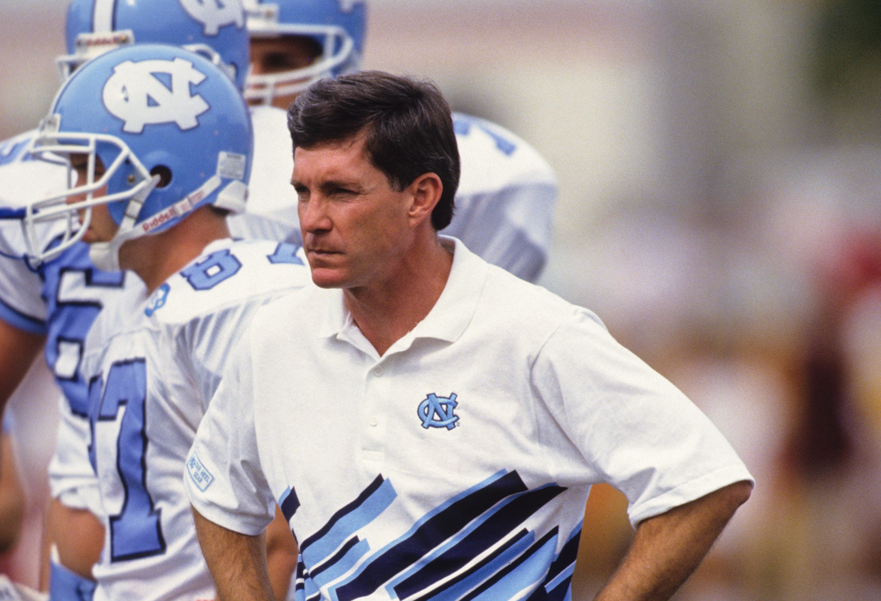 Unknown date, 1992; Unknown location, USA; FILE PHOTO; North Carolina Tar Heels head coach Mack Brown on the sidelines. Mandatory Credit: RVR Photos-USA TODAY Network