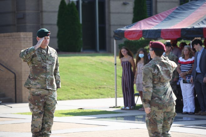 Lt. Gen. Jonathan P. Braga assumes command of the U.S. Army Special Operations Command, during a ceremony Friday, Aug. 13, 2021,  at Fort Bragg.