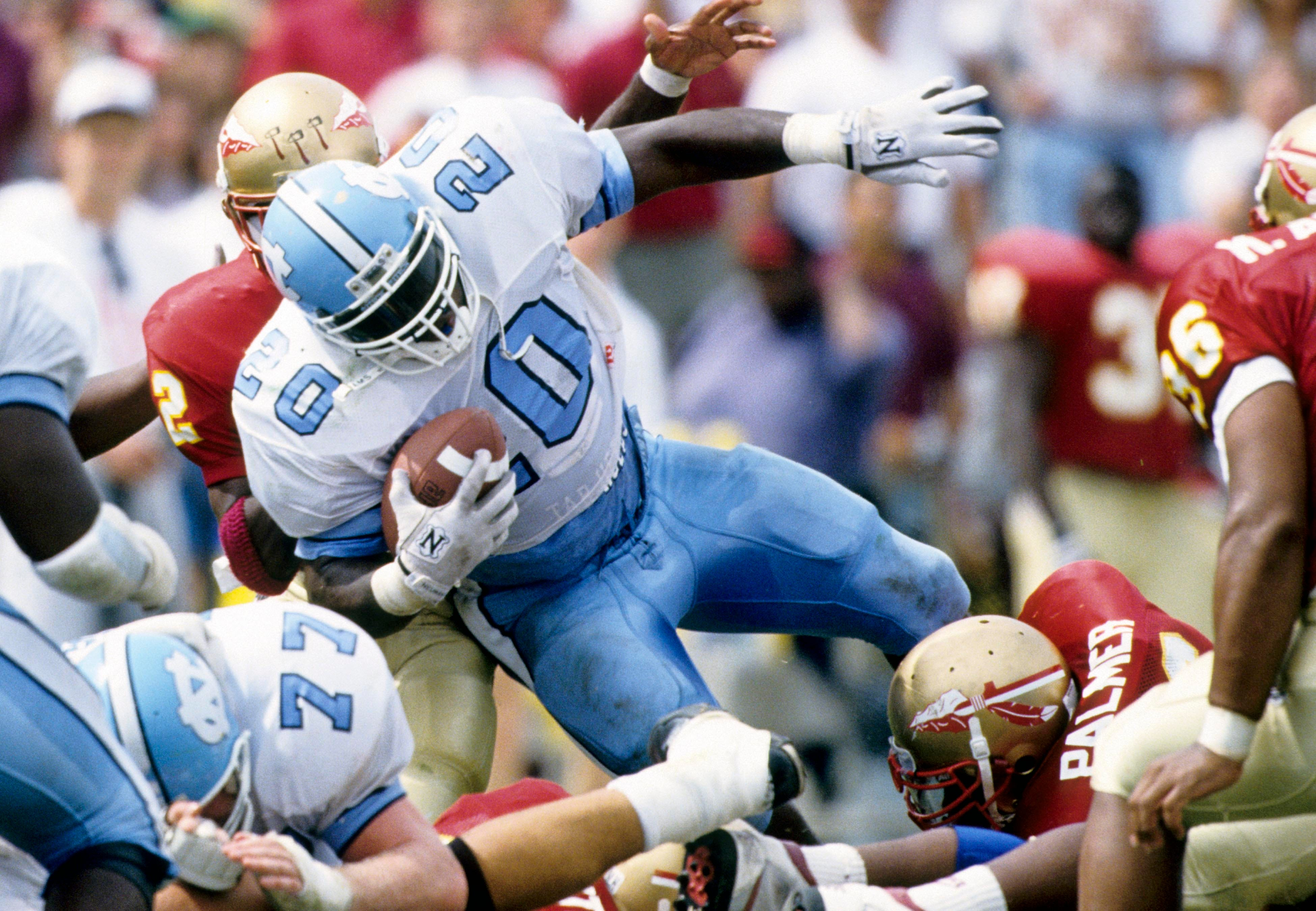 Oct 10, 1992; Tallahassee, FL, USA; FILE PHOTO;  North Carolina Tar Heels running back Natrone Means (20) in action against the Florida State Seminoles at Doak Campbell Stadium. Mandatory Credit: RVR Photos-USA TODAY Sports
