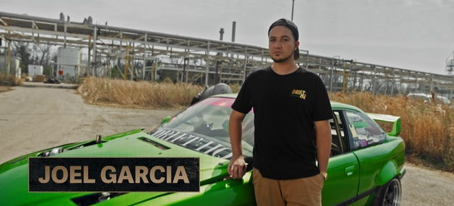 """Drift racer Joel Garcia and his modified BMW on the set of Discovery Channel series """"Getaway Driver"""""""