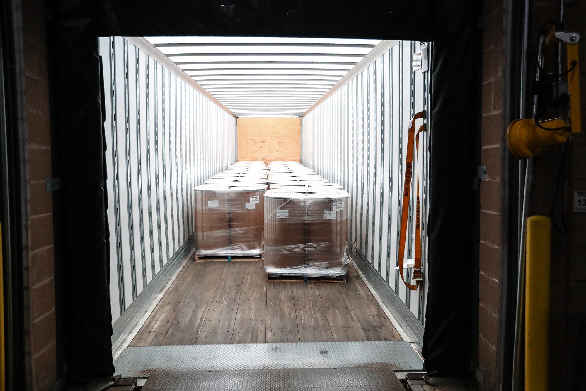 Multiple semi trailers of mustard product are loaded and shipped out daily from Wisconsin Spice's factory in Berlin.
