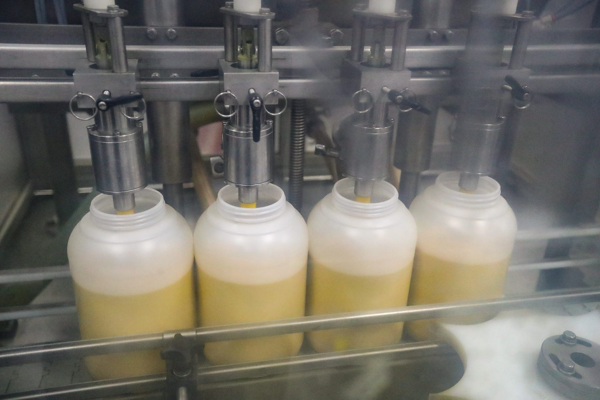 One gallon mustard jugs filled at Wisconsin Spice are destined for foodservice companies and restaurants. Retail, foodservice and similar packaging operations are about a quarter of mustard company's business.