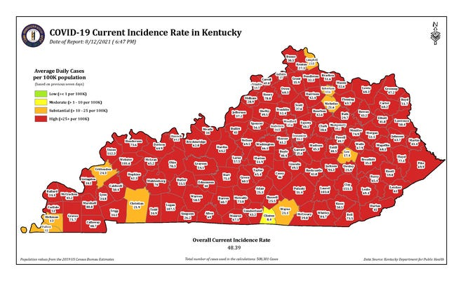 The COVID-19 current incidence rate map for Kentucky as of Thursday, Aug. 12.