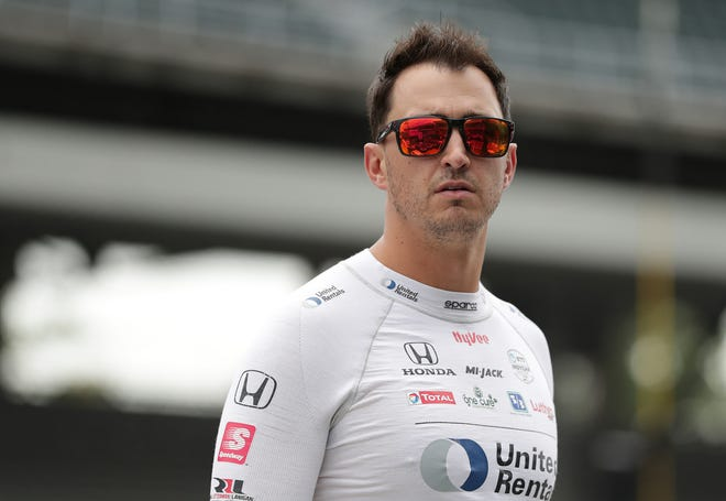 Rahal Letterman Lanigan Racing driver Graham Rahal (15) gets ready to practice for the IndyCar Grand Prix on Friday, Aug. 13, 2021, at Indianapolis Motor Speedway.