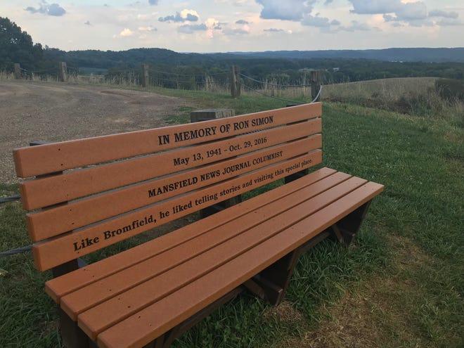 Ron Simon's bench is back atop Mount Jeez at Malabar Farm State Park.