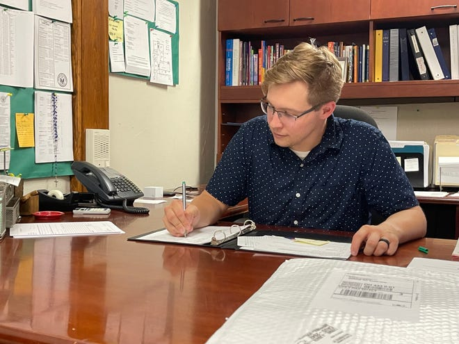 Whether its finishing out paper work or helping with renovations, Jared Tedrick finds himself doing a little bit of everything as he starts the year in his new role as principal of the Marion St. Mary School.