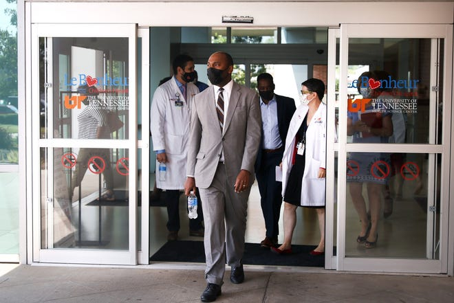 Shelby County Mayor Lee Harris walks out to a press conference dealing with pediatric cases of COVID-19 at Le Bonheur Children's Hospital on Friday, Aug 13, 2021.
