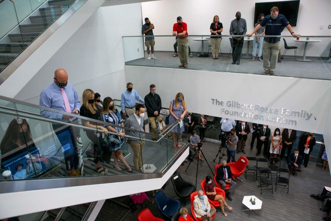 People gathered for the ribbon cutting of the new John and Mary Alford Center for Science and Technology at the shared campus of OSU Newark and the Central Ohio Technical College in Newark, Ohio on August 14, 2021.