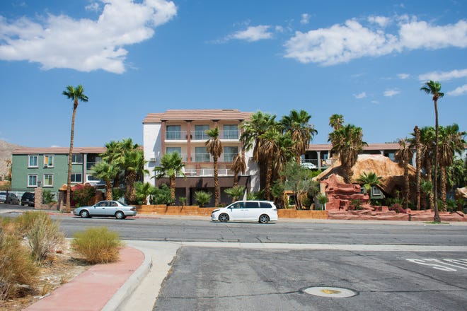 The Hyundae Resort and Spa in Desert Hot Springs, Calif. on August 13, 2021. The hotel's license was revoked by the city following many public safety concerns and dispatch calls to the property.