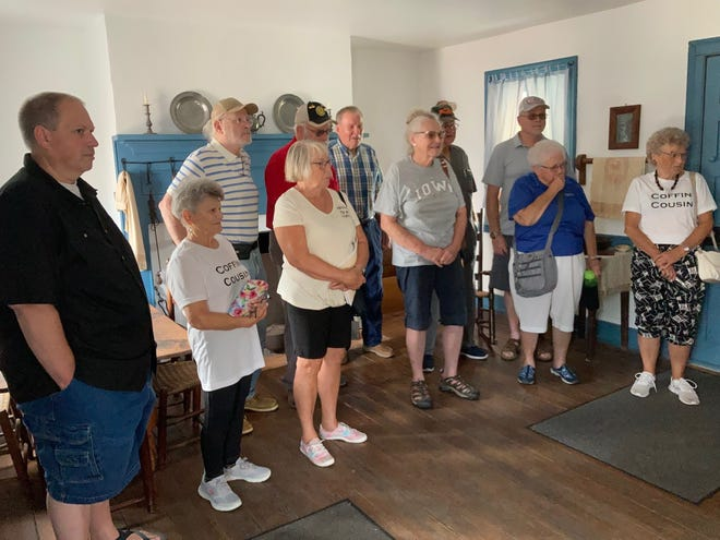 Coffin family members tour the Levi and Catherine Coffin State Historic Site in Fountain City.