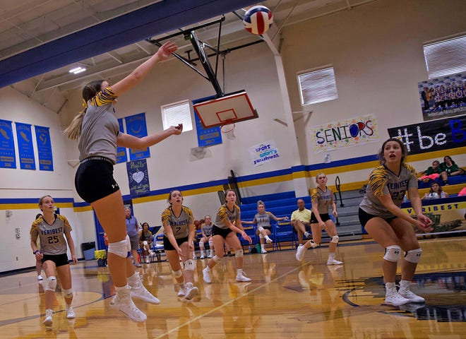The Veribest High School volleyball team competes against Brady at the Falcon Fest Volleyball Tournament in Veribest on Friday, Aug. 13, 2021.