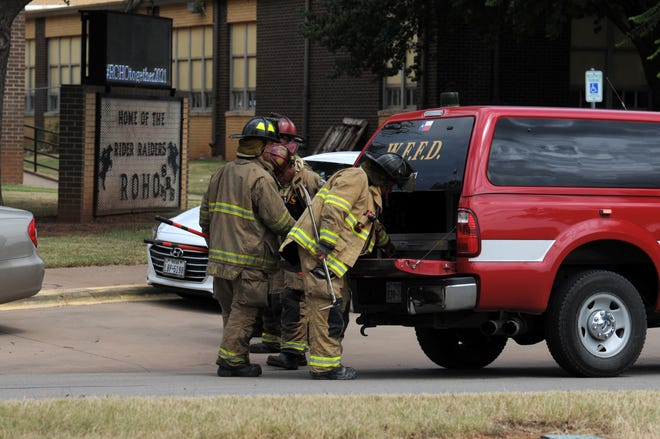 The Wichita Falls Fire Department and multiple other agencies responded to a bomb threat at Rider High School Friday.