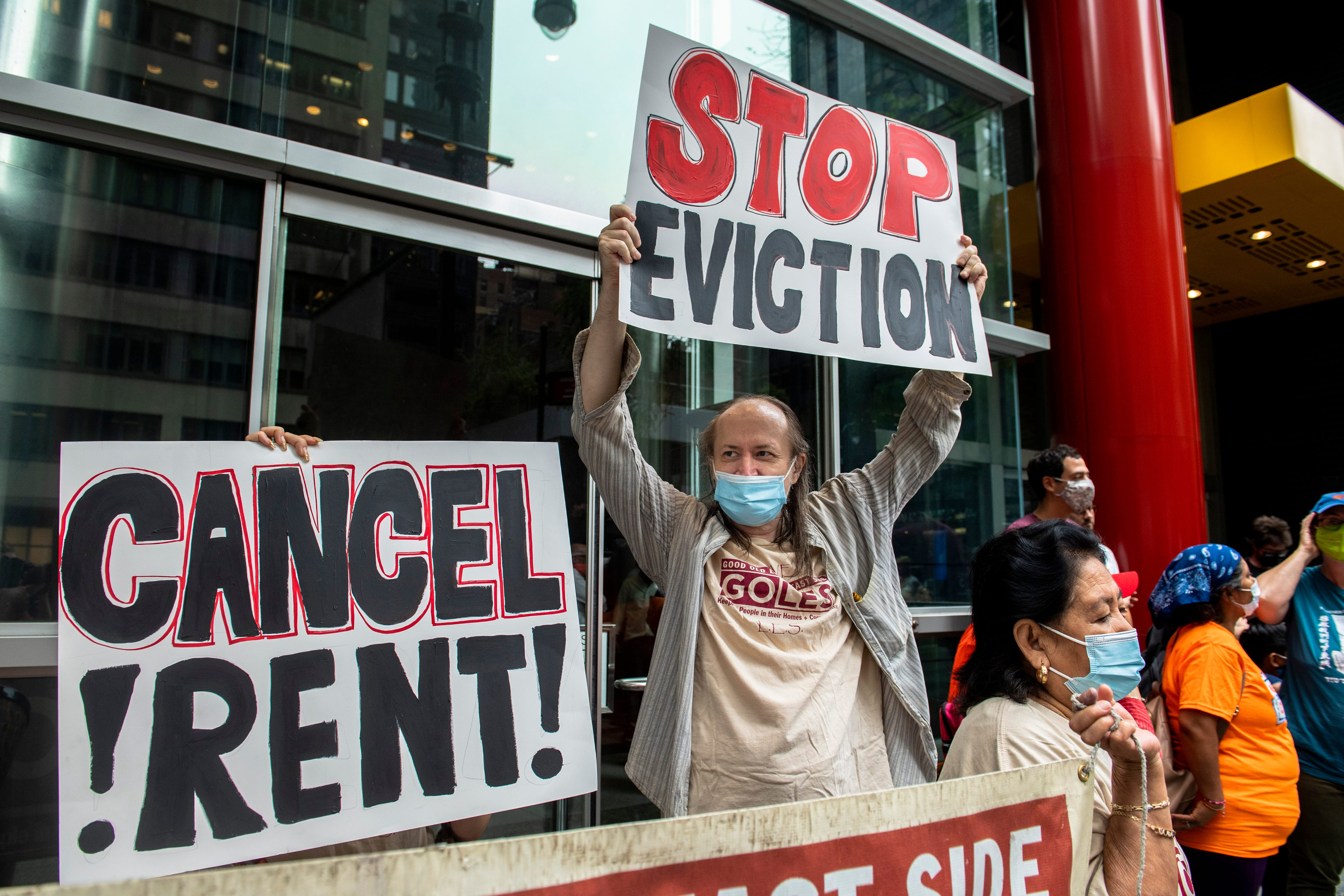 Housing advocates protest outside Gov. Andrew Cuomo's office Aug. 4 in New York. The Supreme Court blocked part of New York's moratorium on evictions, put into effect because of the coronavirus pandemic.