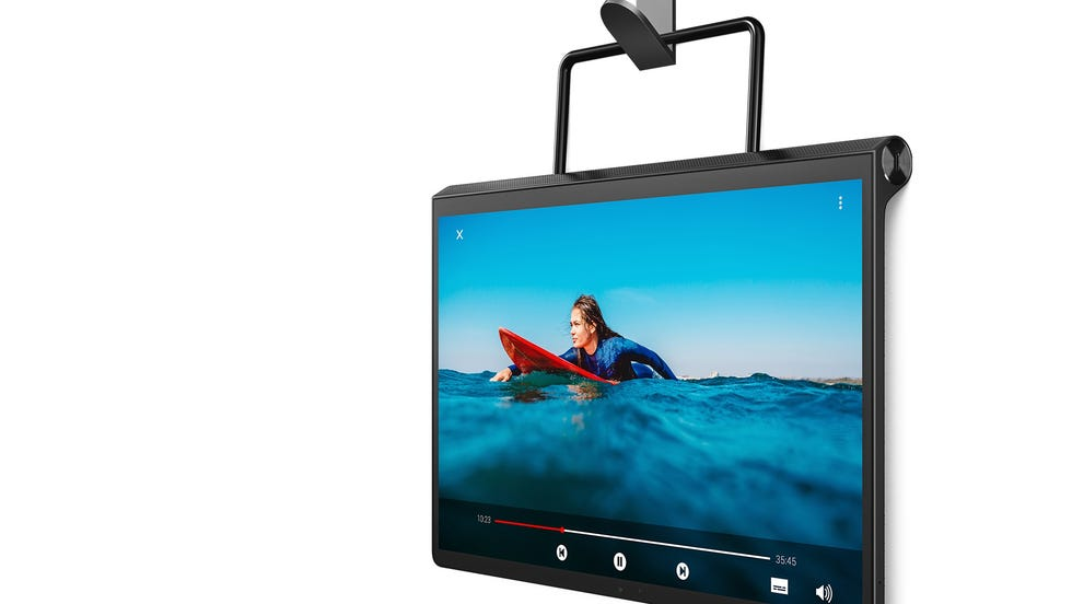 Lenovo's Yoga Tablet 13 can be hung on a wall, doorknob, back of an airplane seat, or anywhere else you can imagine, without an additional gadget.