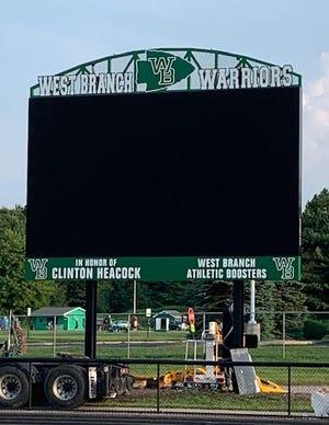 West Branch's new scoreboard.