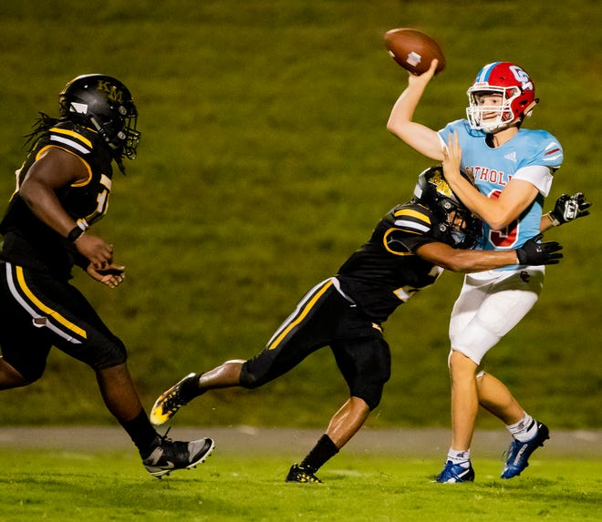 Charlotte Catholic sophomore quarterback Franklin Brewer throws against Kings Mountain Friday night in the third scrimmage of the Cleveland County Football Jamboree at Burns High School in Lawndale, N.C.