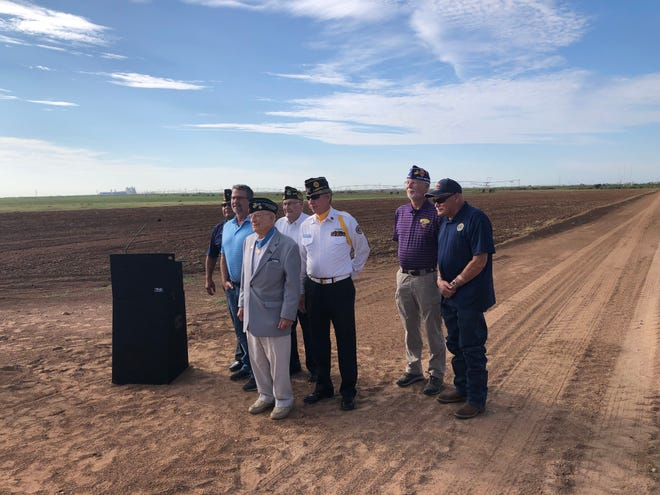 World War II Medal of Honor recipient Woody Williams, in the gray blazer, joined with Lubbock area veterans advocates and leaders during a news  conference Friday morning at the proposed site of a veterans cemetery in East Lubbock.