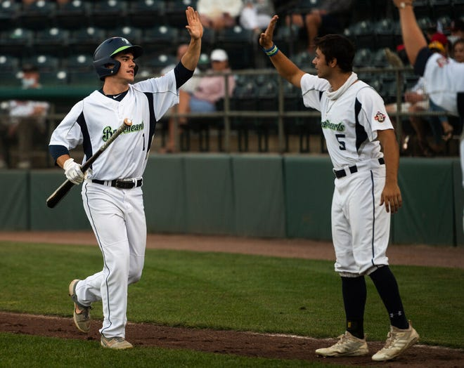 Matt Shaw, left, scored three runs with two hits and two stolen bases Friday night while helping the Bravehearts return to the playoffs.