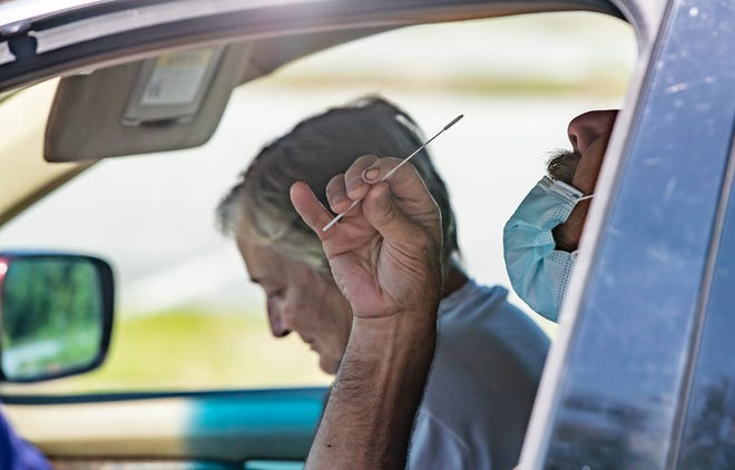 Bay County residents get COVID-19 tests recently at a testing site at 4501 Transmitter Road staffed by Ridgewood Diagnostic Laboratory and Frost Medical Supplies. The site is open weekdays from 8 a.m. to 3:30 p.m. and Saturdays from 8 a.m. to noon.