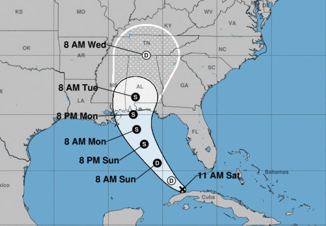 The projected path of former Tropical Depression Fred as of 11 a.m. Saturday.