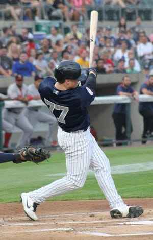 Yankees outfielder Clint Frazier went 1-for-3 in his first rehab start with the Somerset Patriots on Friday, Aug. 13, 2021.