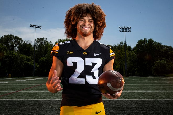 Iowa defensive back Xavior Williams (23) poses for a photo during the Iowa Hawkeye football media day on Friday, Aug. 13, 2021 in Iowa City, IA.