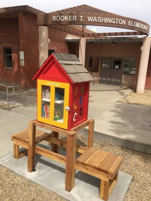 A Little Free Library is pictured outside Booker T. Washington Elementary in Las Cruces.