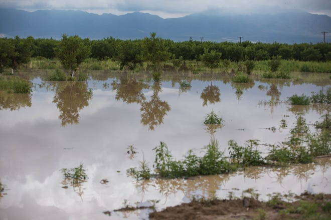 A field floods after heavy rain and flooding in La Union on Saturday, Aug. 14, 2021.