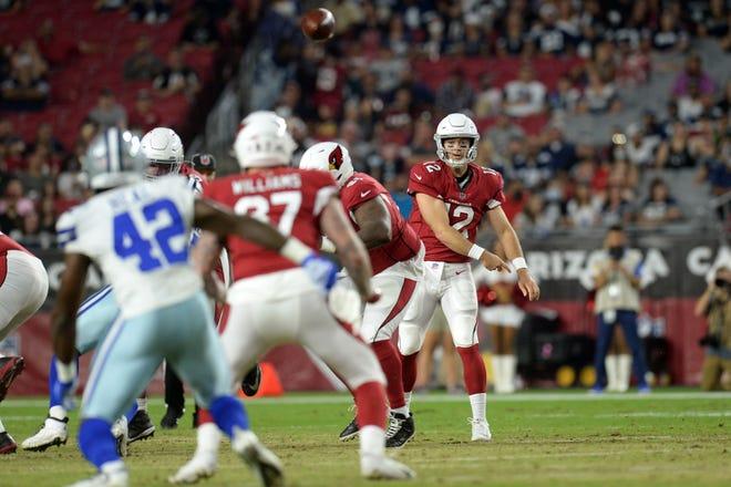 Aug 13, 2021; Glendale, Arizona, USA; Arizona Cardinals quarterback Colt McCoy (12) passes the ball against the Dallas Cowboys during the first half of a preseason game at State Farm Stadium. Mandatory Credit: Joe Camporeale-USA TODAY Sports