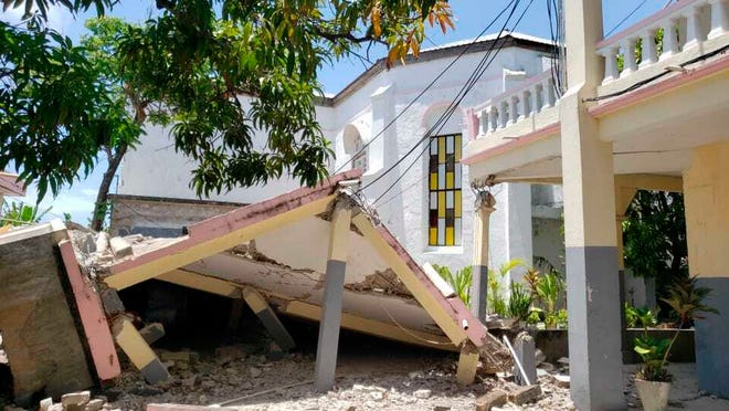 Sacred Heart church is damaged after an earthquake in Les Cayes, Haiti, Saturday, Aug. 14, 2021.