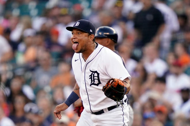 Detroit Tigers first baseman Miguel Cabrera reacts after catching the throw from shortstop Zack Short for the third out during the fourth inning of a 6-4 win over Cleveland on Saturday night. [Carlos Osorio/Associated Press]
