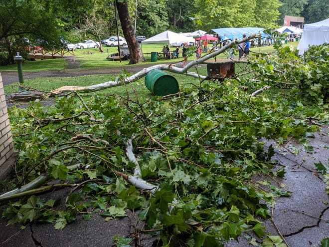 Trees lie on the ground in Silver Park in this photo from Alan Lamb, lead pastor of Paris Israel Church in Paris Township, who shared images of damage after a storm blew through the Alliance area Friday, Aug. 13, 2021.