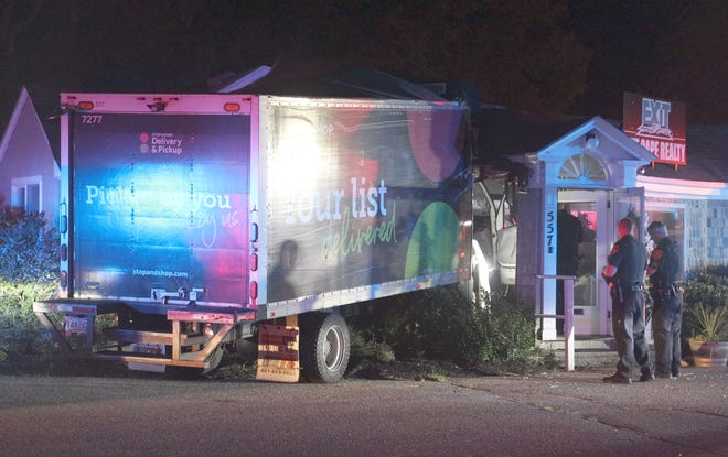 A Peapod truck crashed into Exit Reality on Rte. 28A in Falmouth Saturday night.