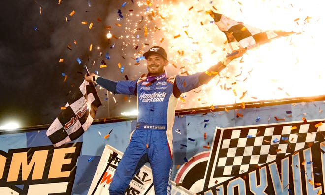 Kyle Larson celebrates after winning the 60th annual Knoxville Nationals Saturday at Knoxville Raceway.