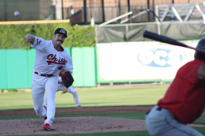St. Louis Cardinals right-handed starter Miles Mikolas on the mound for the Peoria Chiefs in a rehab start at Dozer Park against Cedar Rapids on Saturday in Peoria.