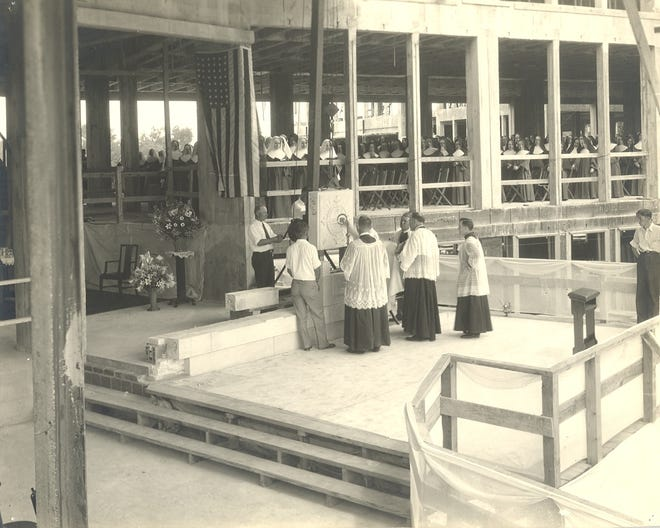 In this photo, the Archdiocese of Detroit and St. Mary Academy leaders lay the cornerstone for St. Mary Academy  on Founders Day, November 10, 1931.